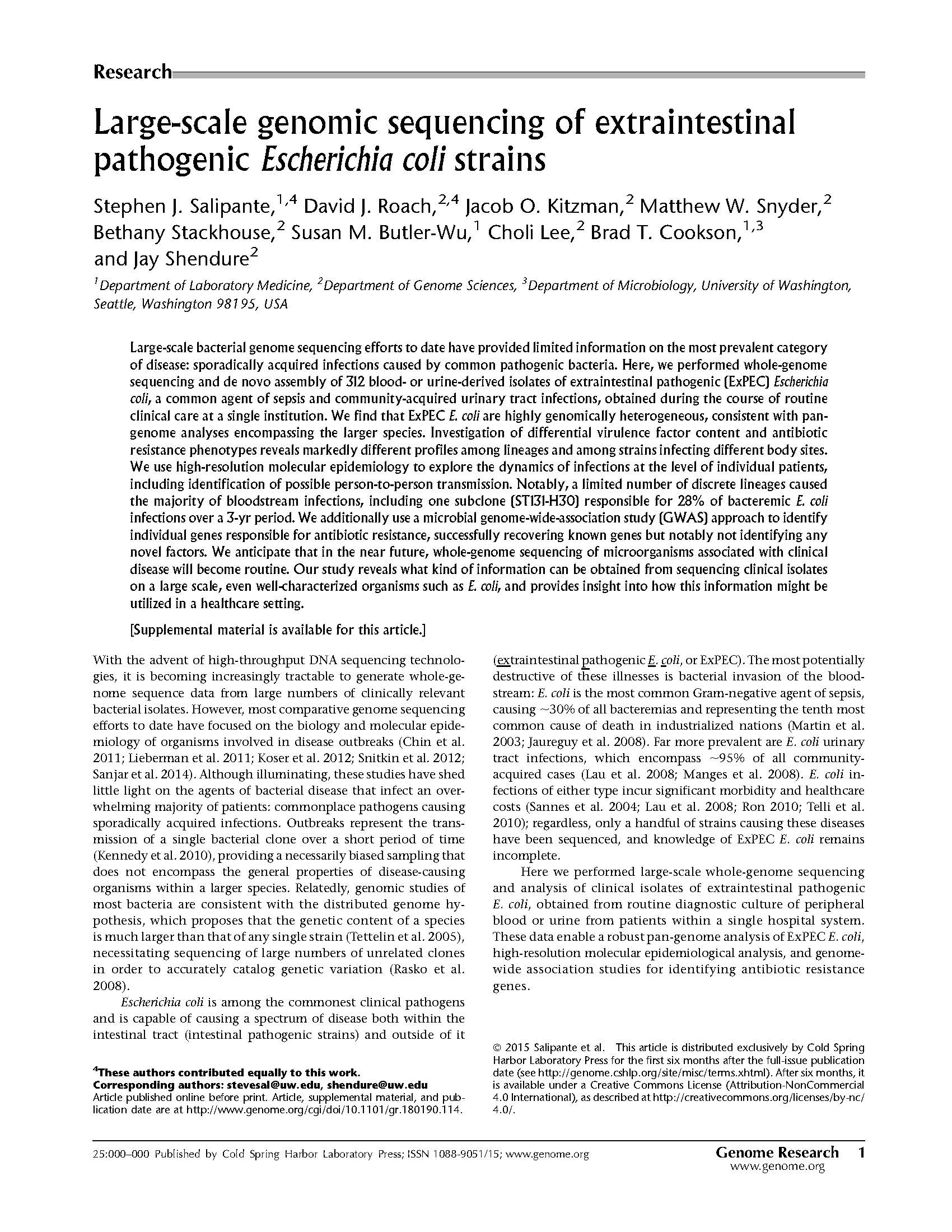 escherichia coli research paper View escherichia coli research papers on academiaedu for free.